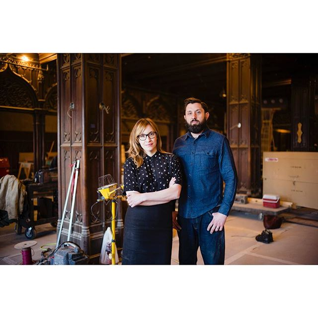Susan Flaga with husband Robert McAdams in Cherry Circle Room at the Chicago Athletic Association. Shot for the WSJ Magazine.