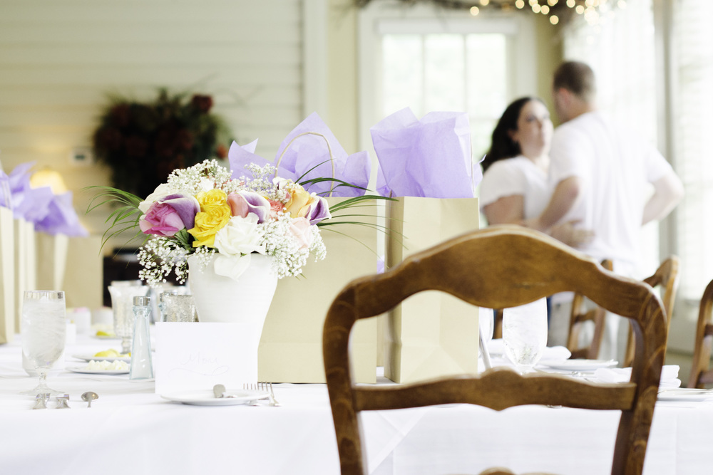 Such a sweet moment captured between the bride and groom as they prepared for the luncheon.