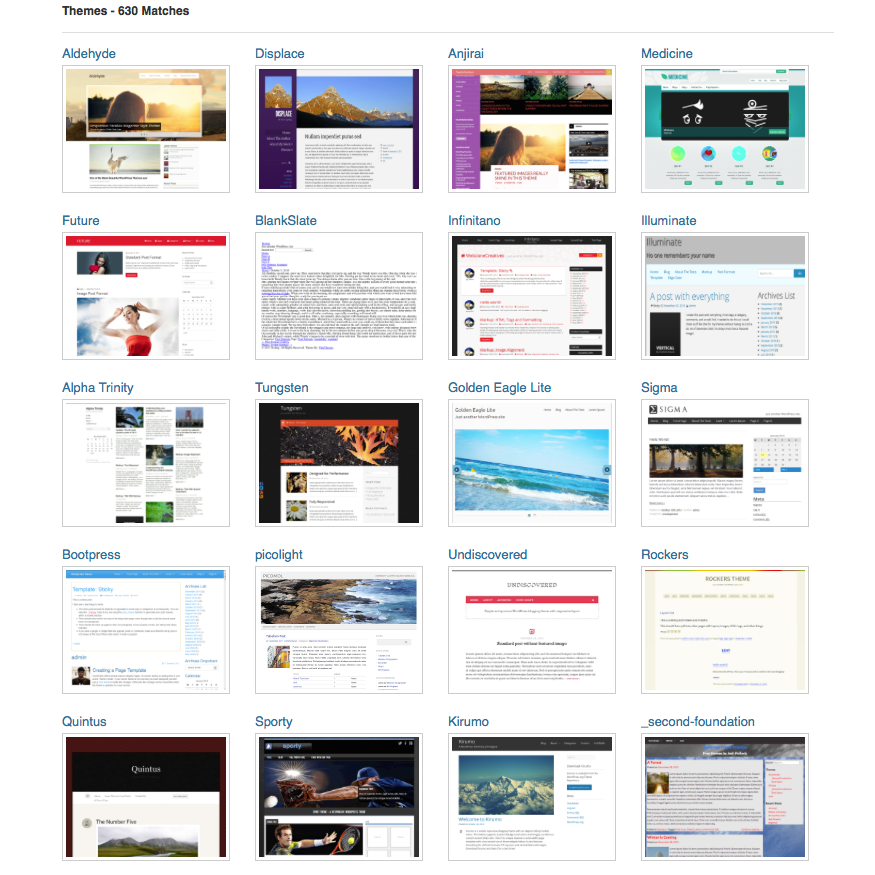 WordPress offers 630+ free responsive themes and growing
