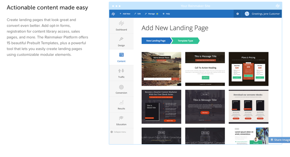 Rainmaker landing page templates are integrated into the experience