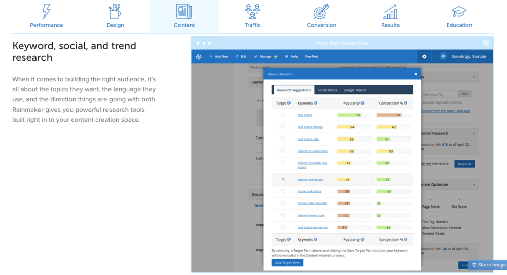 Rainmaker makes it easy to select and target keywords with its integrated keyword research tool