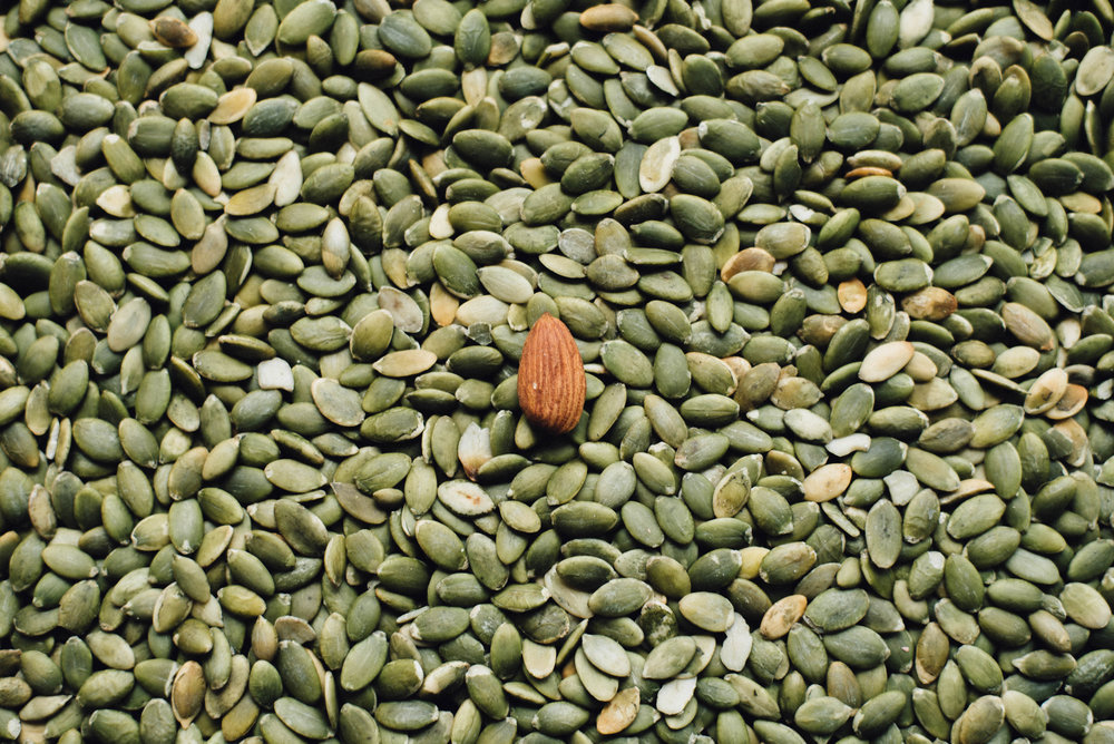 Pumpkin seeds contain plenty of tryptophan, an essential anti-anxiety nutrient.