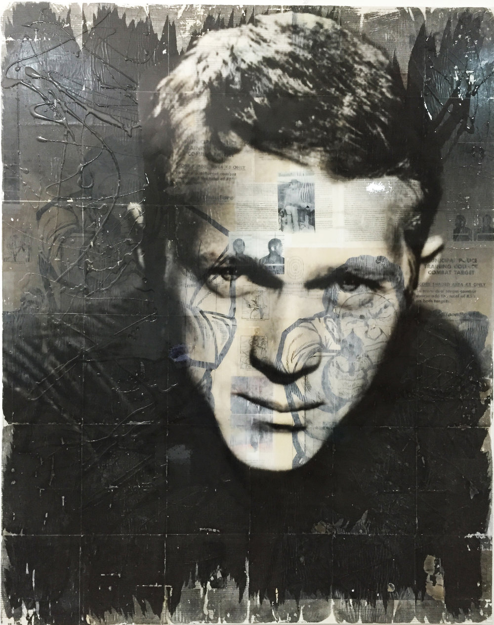 """""""Steve McQueen"""" Airbrushed acrylic and collage on canvas with high gloss resin. 60"""" x 48"""""""