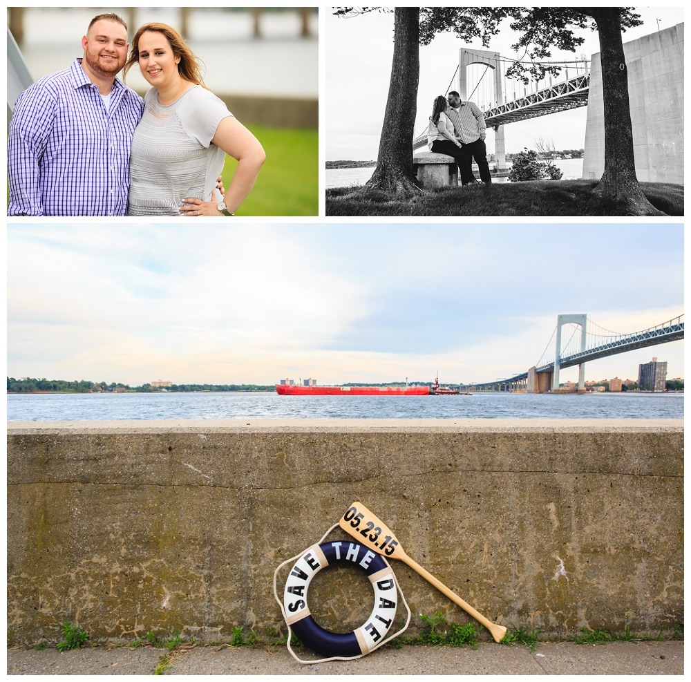 Throg's Neck Bridge is prominently shown in all the photos below.  Check out the awesome Save the Date oar and paddle that they made!