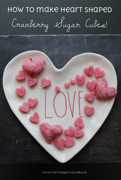 DIY: Heart Shaped Cranberry Sugar Cubes | via Maritza Garcia.