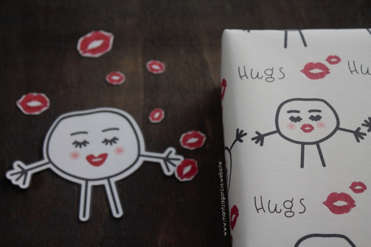 Hugs and Kisses Gift Wrap by Maritza Garcia.