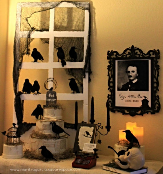 Edgar Allan Poe Halloween display by maritza garcia