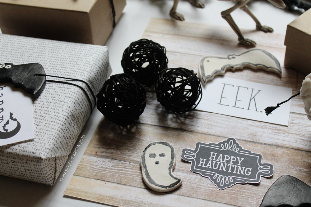 DIY Halloween Clay Tags by Maritza Garcia.