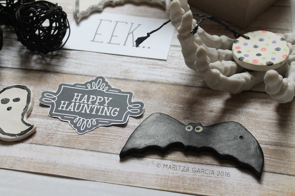 DIY Halloween Clay Tags by Maritza Garcia