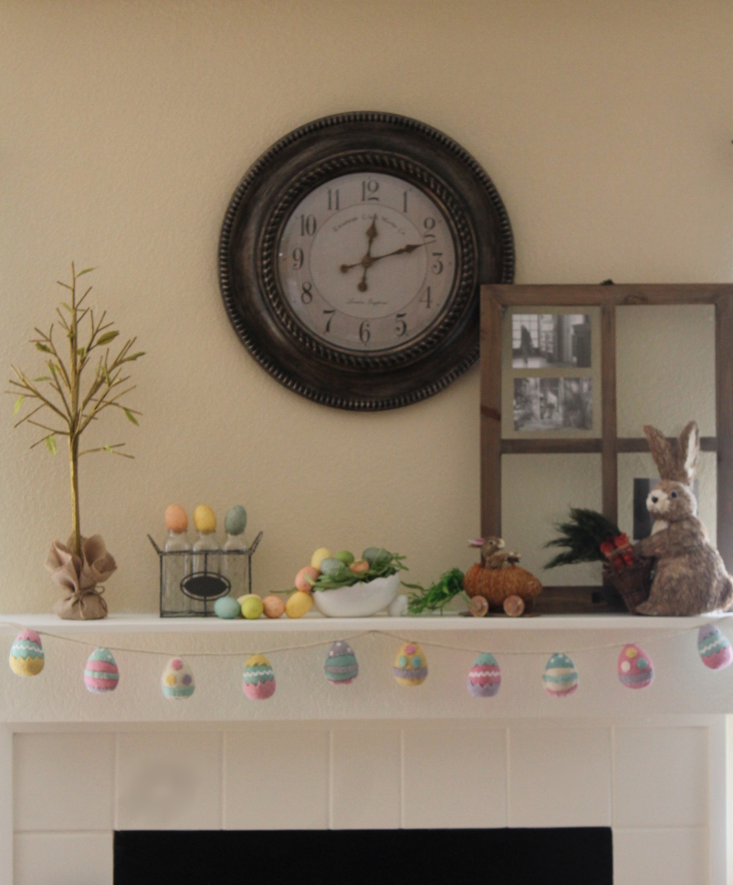 Last Minute Easter Mantel