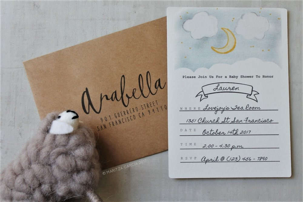 Over the Moon Fill-In Invitations by Maritza Garcia | www.maritzagarcia.website