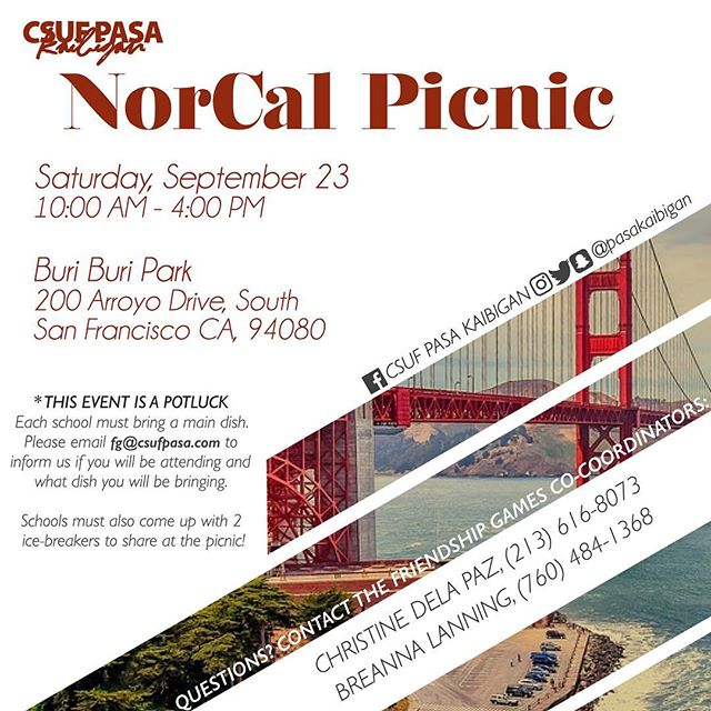 CSUF PASA is coming to the Bay Area! Our NorCal Picnic is slowly approaching, we are counting down the days. NorCal schools that are participating in FG, let's get hyped! If you want to check out our FB event page for more information regarding the picnic, just message us and we can link you to it.