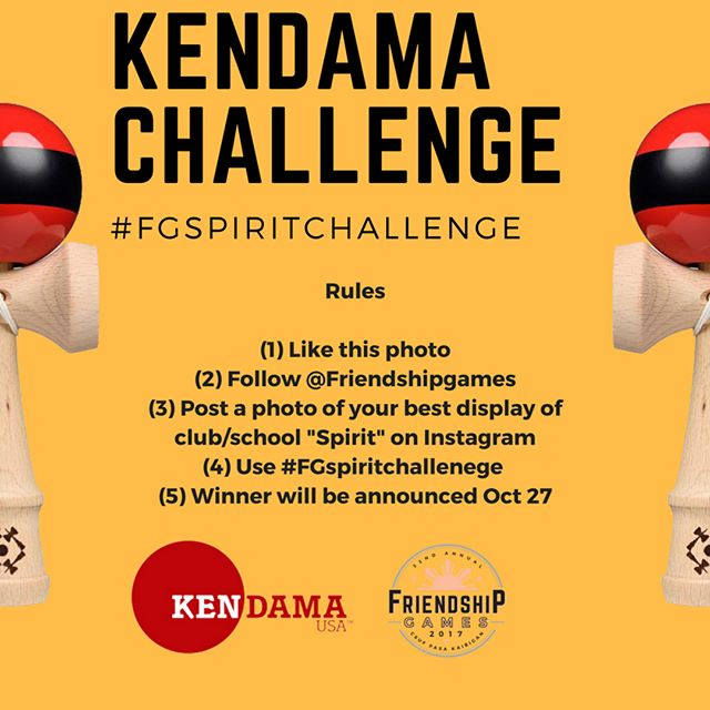 We teamed up with @kendamausa to give away 4 Kendamas in honor of Friendship Games 32! . These are 4 SEPARATE opportunities to win these awesome Kendamas! All contest rules are listed in the photos above. All submissions must be on a PUBLIC ACCOUNT with the proper #. Contest starts TODAY and all submissions are due 10/26/17 at 11:59PM .  All 4 winners will be announced on October 27 and will be contacted with further information on collecting their prize. We hope you are all excited to experience Friendship Games 32! Good luck, be creative, and have fun! Please leave a comment down below or DM us for further information / questions! . #RoadtoFG32 #FG32 #Friendshipgames32