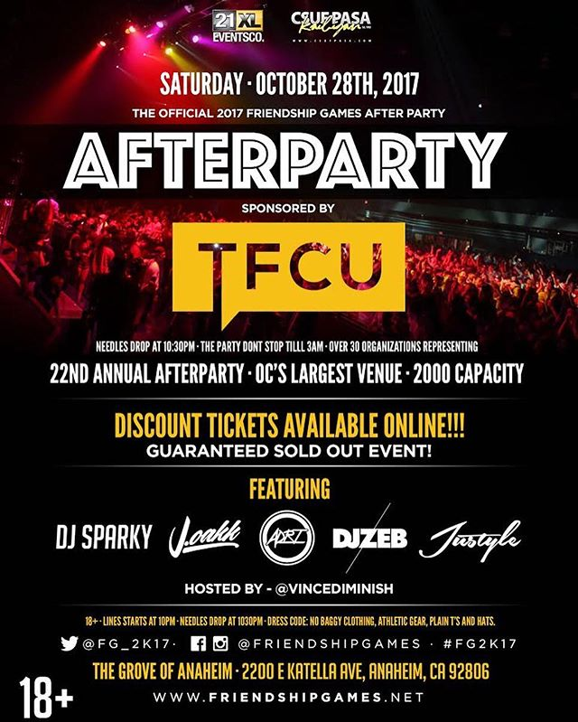 Have you purchased your After Party ticket yet? The link to buy the tickets is below! This year, After Party will be at THE GROVE IN ANAHEIM from 11:30-2:30AM and will be hosted by @tfcuofficial. It's an 18+ event. Tickets are $25 and are recommended to be bought online! #FG2K17 . . https://friendshipgames.ticketspice.com/friendship-games-after-party
