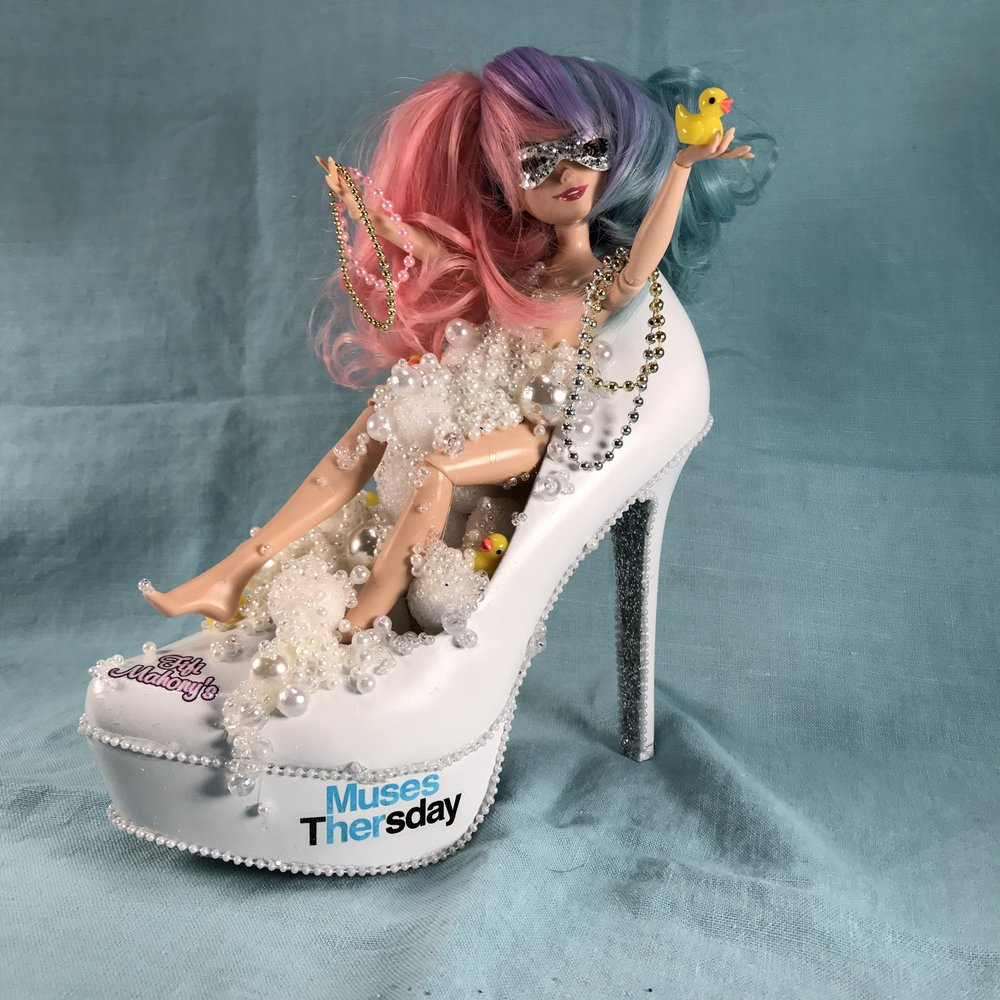 last but not least, a special shoe for our favorite wig shop, Fifi Mahoney's.....