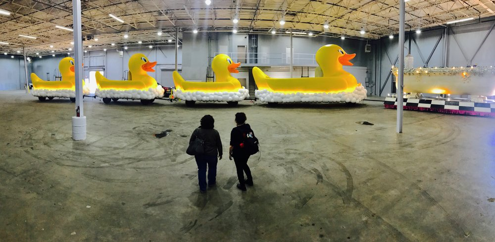 Kim and I taking a look at the new duck floats