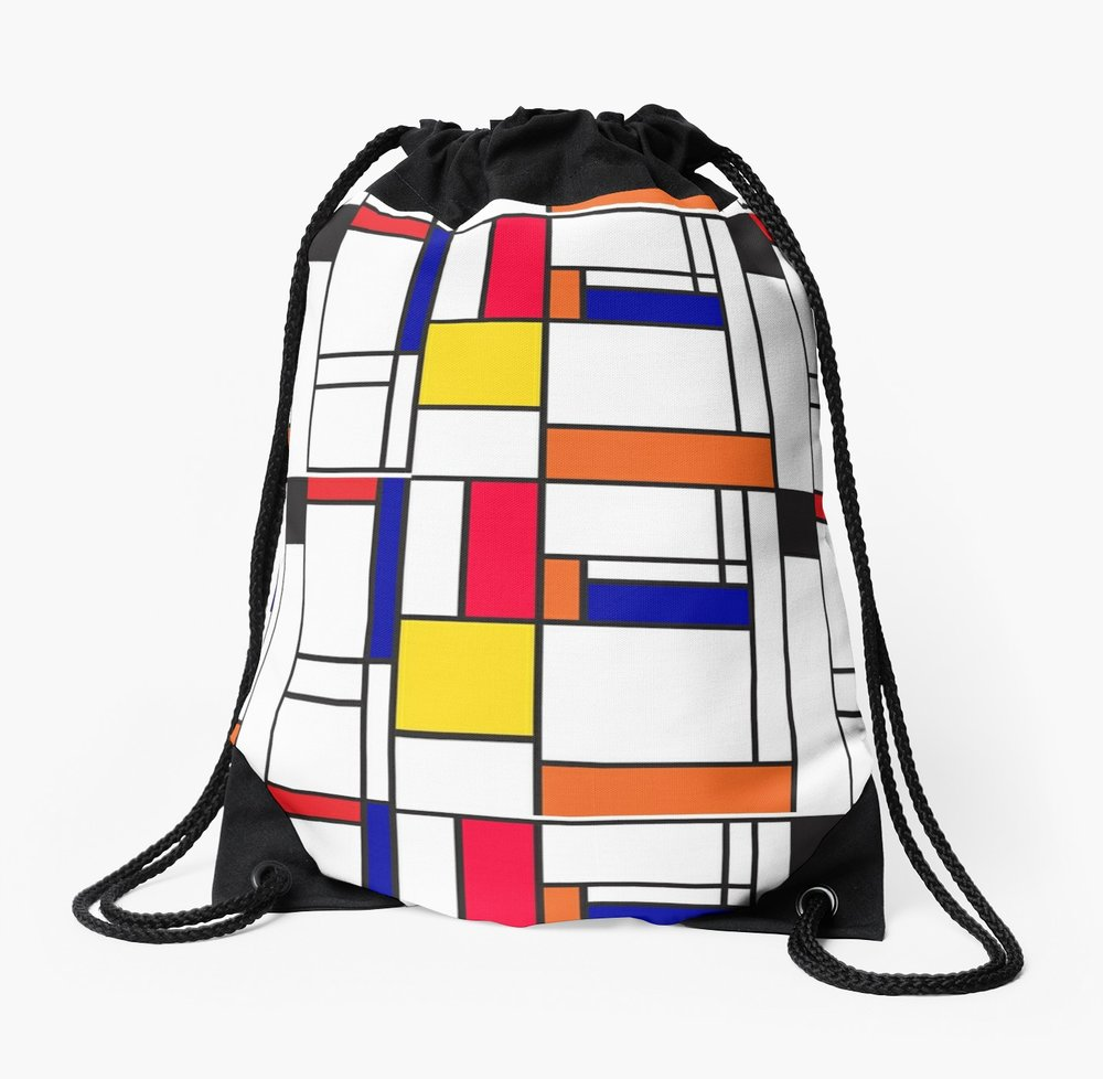 Mondrian inspired drawstring bag