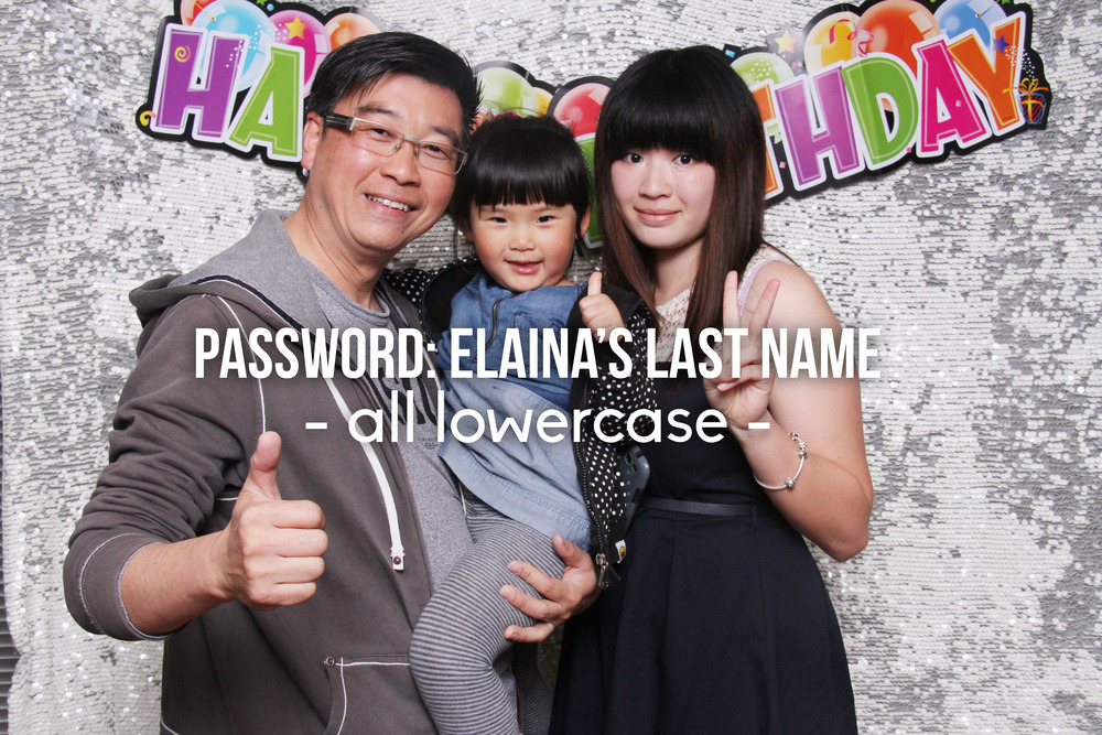 Elaina's 18th Birthday Password: Elaina's Last Name - all lowercase -