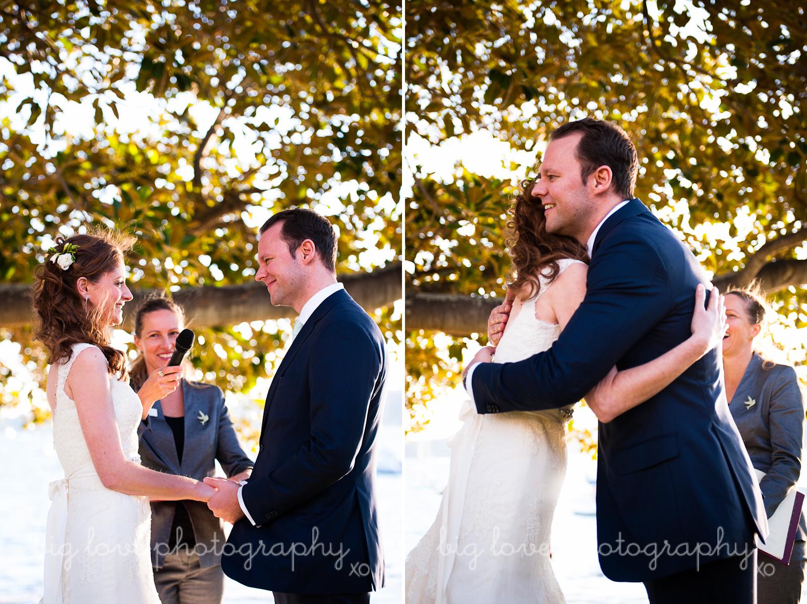 bride and groom hug