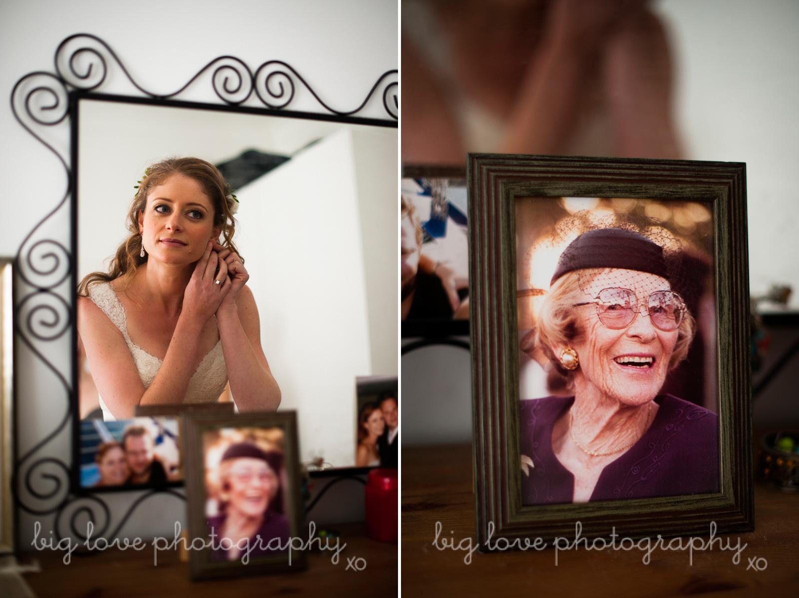 wedding with grandma's photo