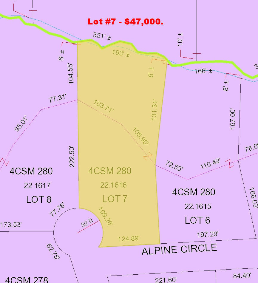 Lot #7 is included with the purchase of the home at 811 Alpine or could be purchased separately for $47,000.