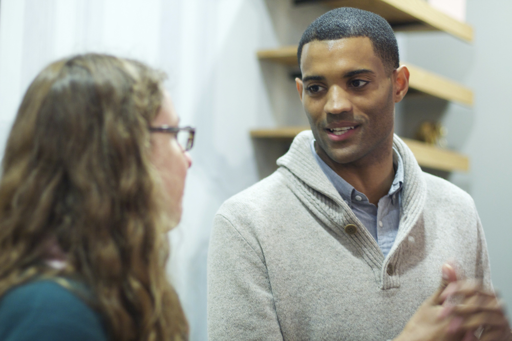 CEO Maurice Wright speaking with Leanne Dodge, a rockstar test prep tutor in NYC.