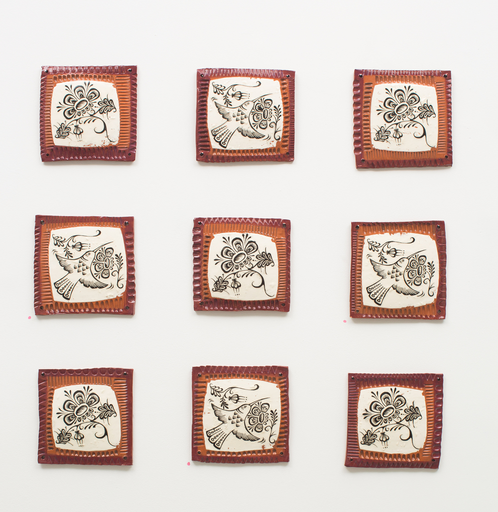 Slip transfer tiles, Reneé Ledesma