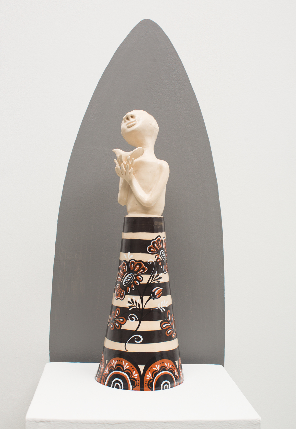 Stoneware Figure with Brid, Reneé Ledesma
