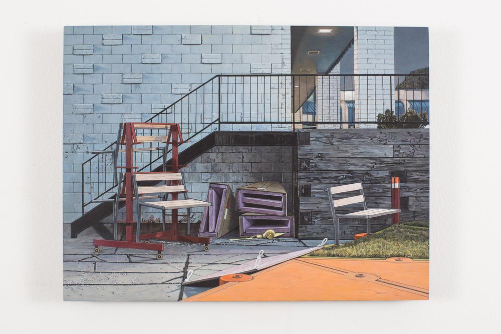 """Bench Rack, 2012-14, Acrylic on Panel, 11 5/8"""" x 15 1/2"""""""