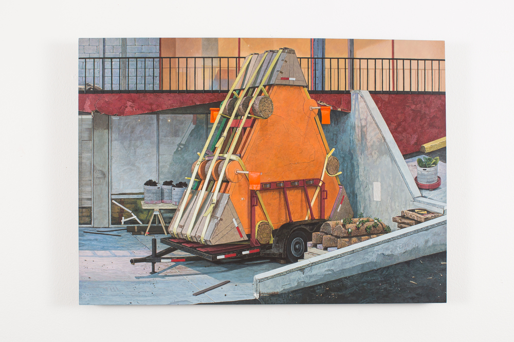 "Trailer with Composite Berms, 2012-14, Acrylic on Panel, 14 5/8"" x 20 1/4"""