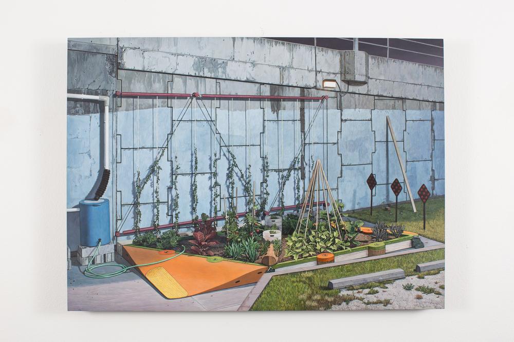 """Dead End Garden, 2012-14, Acrylic on Panel, 16 7/8"""" x 23 1/2"""""""
