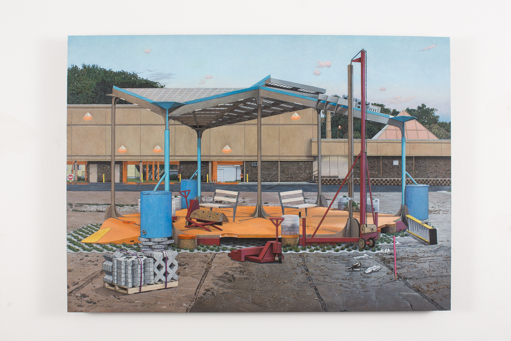 "Pop-up Pavilion, 2013-14, Oil and Acrylic on Panel, 18 1/2"" x 25 1/8"""