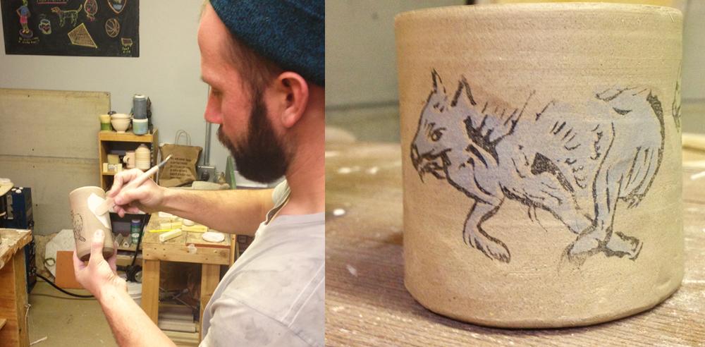 Kjell Peterson transfers screen-printed glaze onto a clay vessel