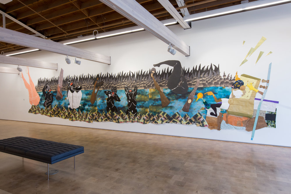 The Pleasure Principle, 2017.  Mixed media collage installation with paper and canvas; 10 x 40 feet.