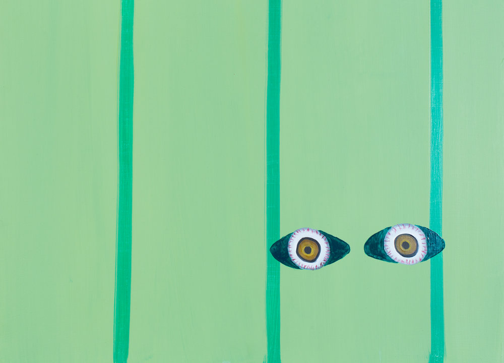 Peekaboo (detail), 2015.  Oil on panel; 18 x 18 inches