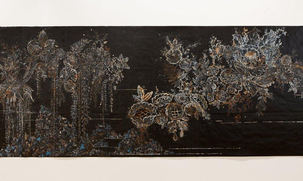 Nancy Friedemann-Sánchez.River, 2017. Ink on Tyvek.