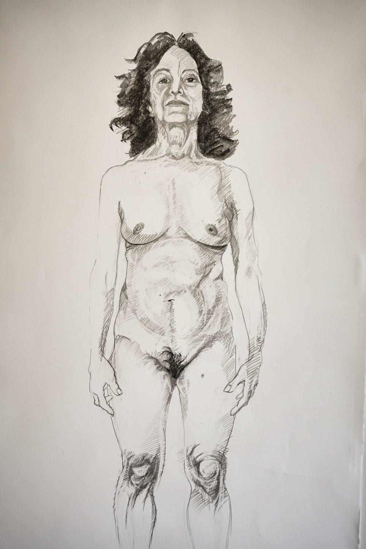 Zoë Charlton.  Doppelgänger (mary) , 2018. Graphite on paper.