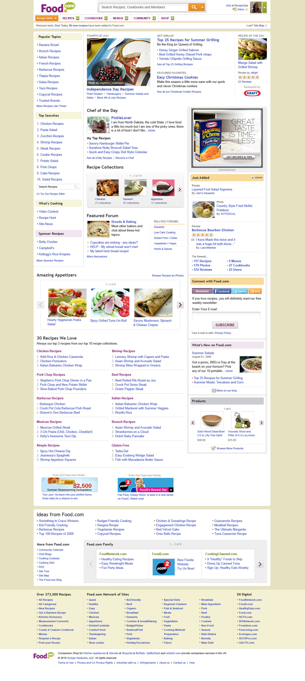 The finished Food.com homepage is intended to balance both the needs of the members while also highlighting valuable search terms.