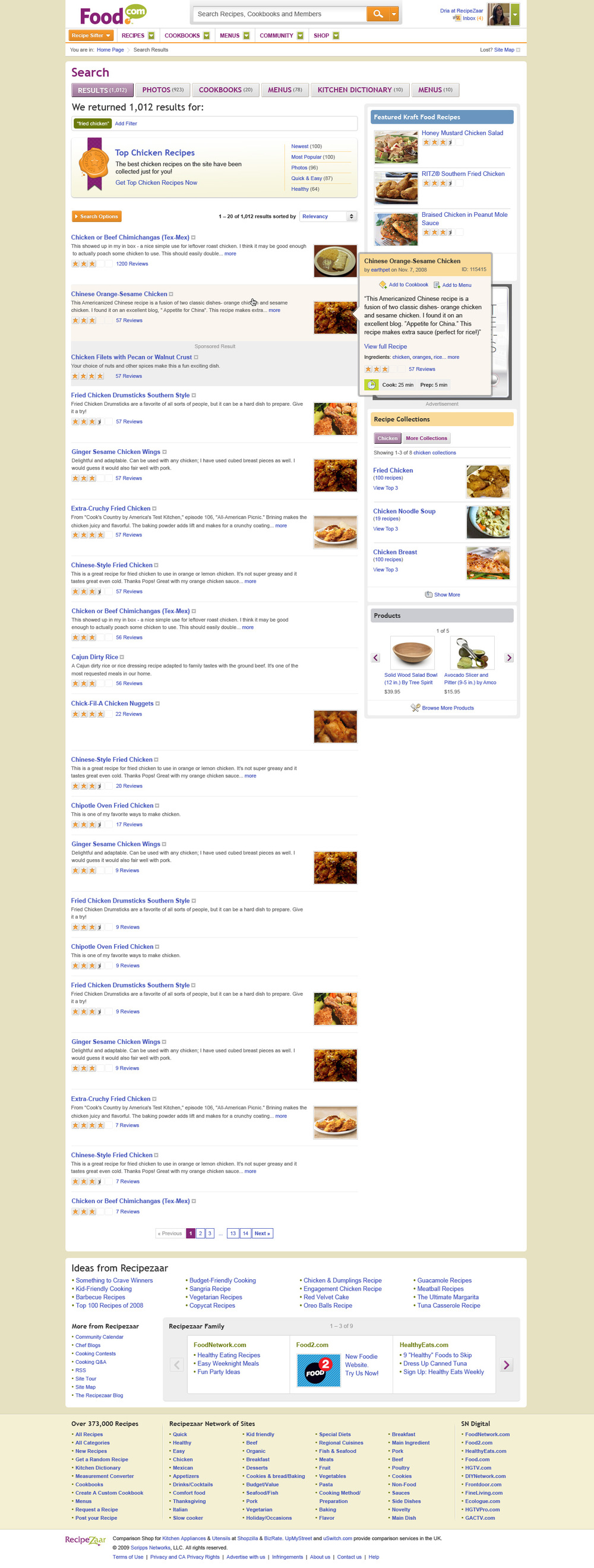 A tough decision to make regarding search results is which information to highlight. For Food.com, we chose to show the recipe name, it's rating, and the description from the original poster. Since analytics showed that users rarely used additional filters, we chose to make the design cleaner and give users the options to show them when needed. This decision did not affect the amount of usage of the filters.