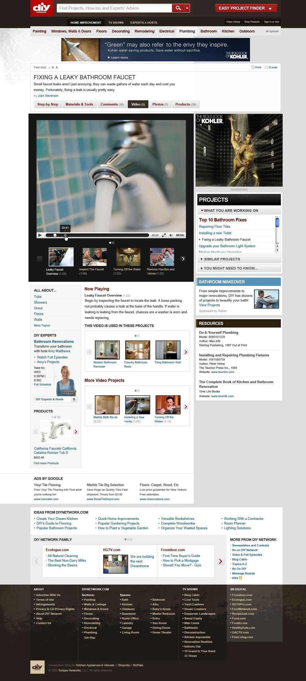 Projects on DIYNetwork utilized the vast library of content created by the network. The video player page was able to be connected to step-by-step instructions. I was responsible for the interaction design for both the page and player.