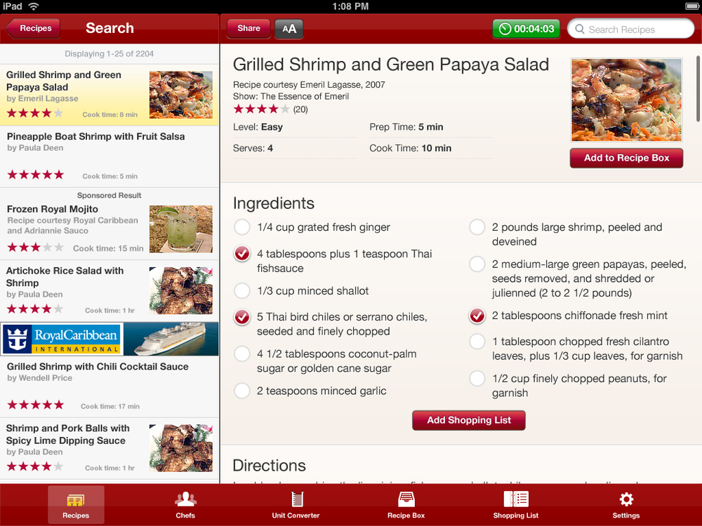 Recipes included recipe box and shopping list features that synced across iPad, iPhone and website.