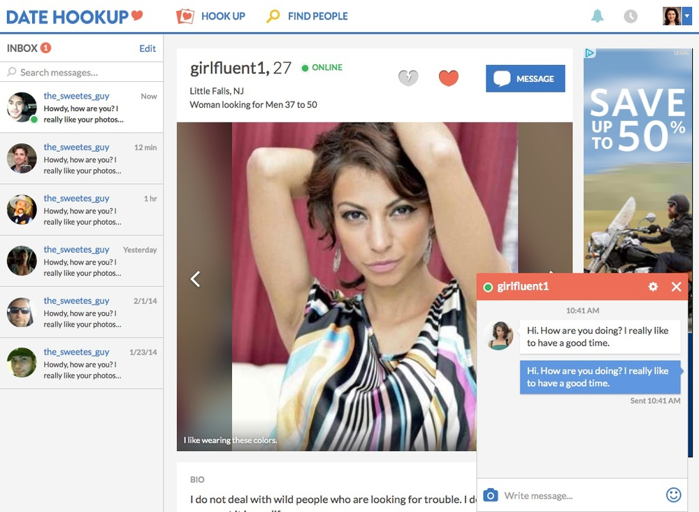 Above is a sample of what a user's profile and chat window look like. The profile focused on the user's photos instead of stats, and we began allowing users to share more than just standard profile photos of themselves and start including pictures of things they love. Multiple chat windows allowed users to talk to more than one person at a time.
