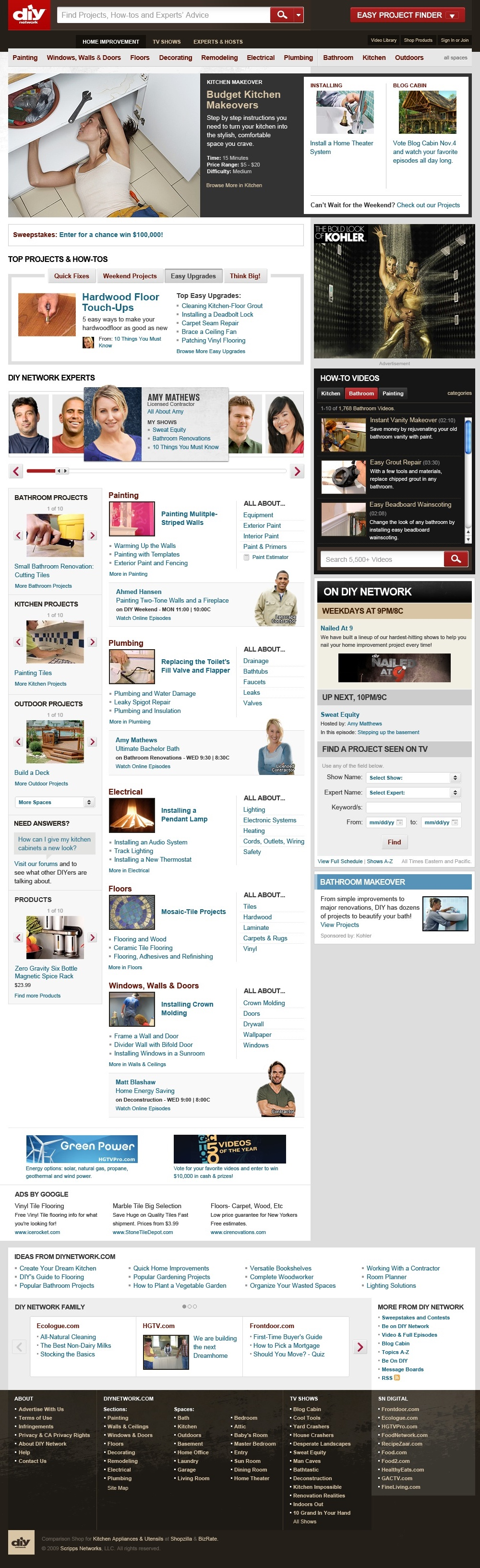 The homepage highlights both projects and experts. The experts are also ties to the TV network – a big driver of traffic to the website. Through research we found that users needs changed from weekday to weekend and content could be scheduled for the homepage to reflect this. The homepage shows a variety of design patterns created for use across not only this site but other Scripps properties.