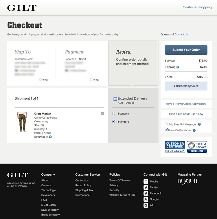 Good deals can disappear fast, so when users find something the love, checkout should not stand in their way. Additionally, customer support informed us that the previous version of checkout was leading to a lot of packages sent to the wrong address which frustrates users and costs the company money. We addressed this by offering a 1-click checkout and positioning the shipping and billing information prominently on the page.
