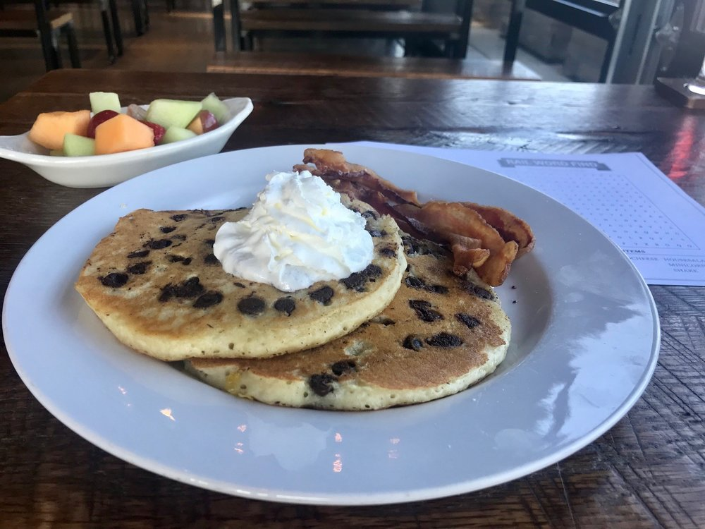 Li'l RAILavores Chocolate Chip Pancakes with Ohio Thick-Cut Bacon & Fruit