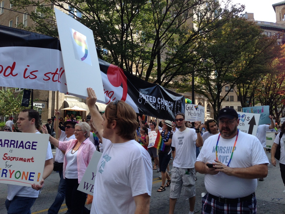 Marching with the local UCC Churches at Atlanta Pride!