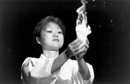 "Chung Hyun Kyung at her presentation ""Come Holy Spirit, Renew the Whole Creation"" at the World Council of Churches meeting at Canberra in 1991."