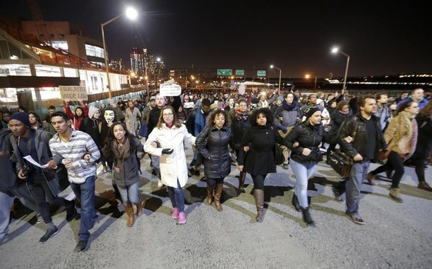 Marching down the West Side Highway on December 3, 2014. Image by Associated Press (AP).