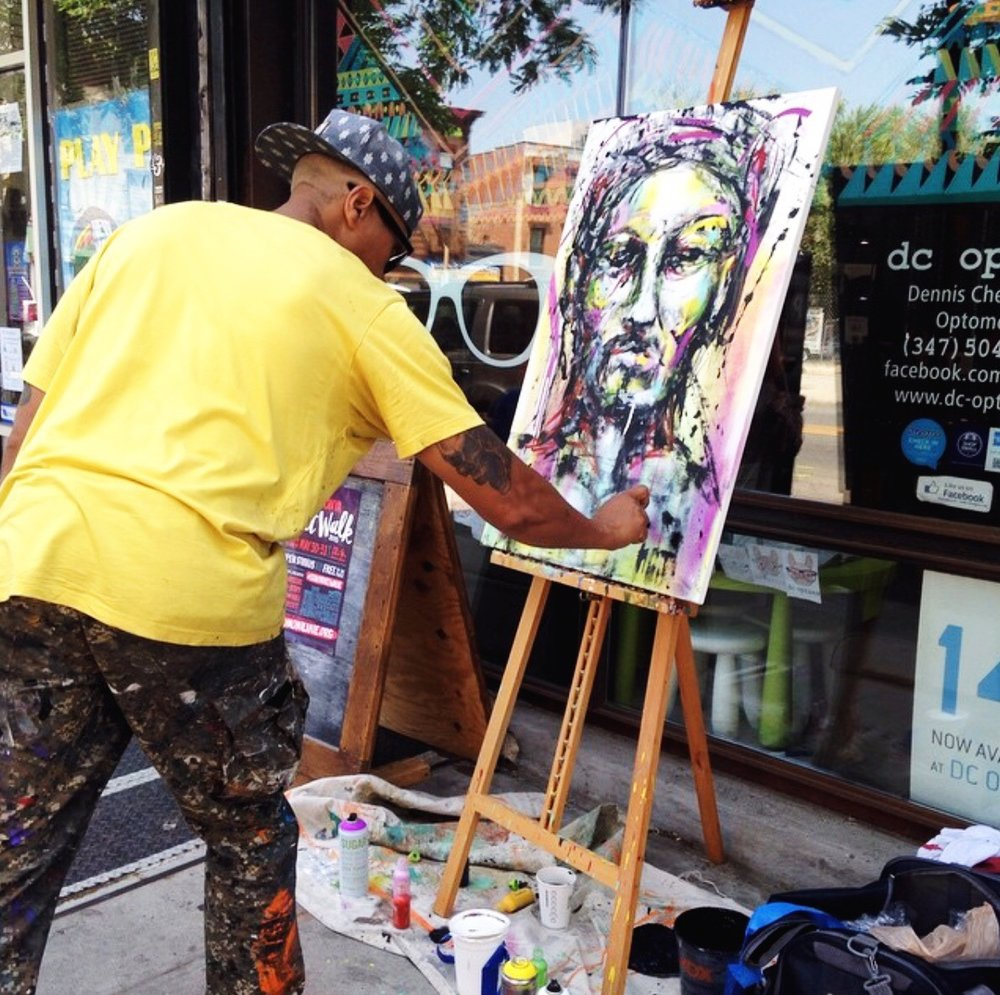 N. Carlos J. painting at the 16th Annual SONYA Art Walk.