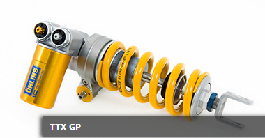 Öhlins TTX shock absorbers (standard equipment on the RSV4 RF): the TTX line is the most prestigious of the products offered by Öhlins (top and bottom attachments are in billet aluminium). They allow full and fine adjustment in all shock absorbing functions. They can be fitted with linear sensors to install telemetry.